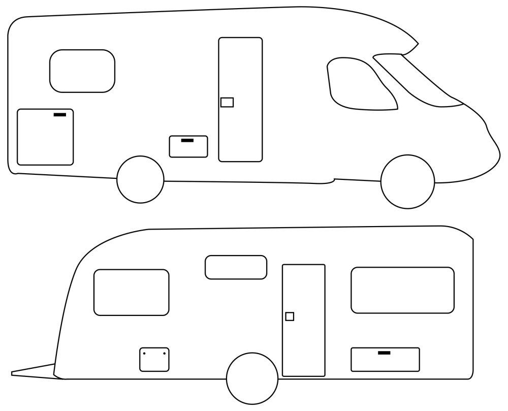 Camper Wohnwagen und Wohnmobil Illustration