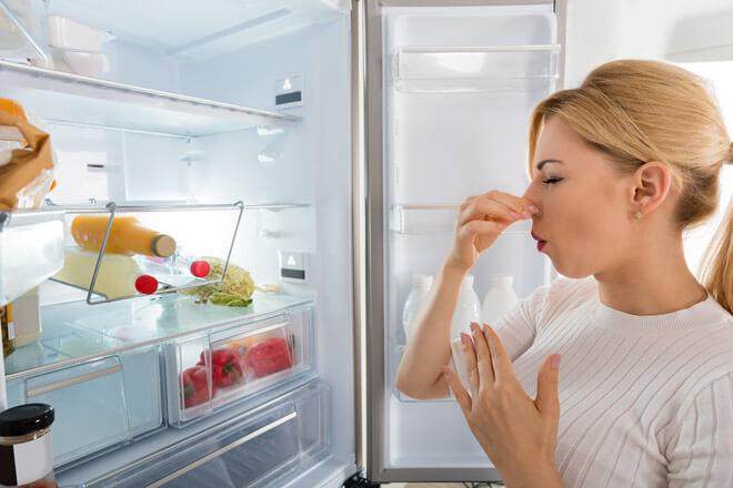 Offener Kühlschrank stinkt - Frau hält sich die Nase zu